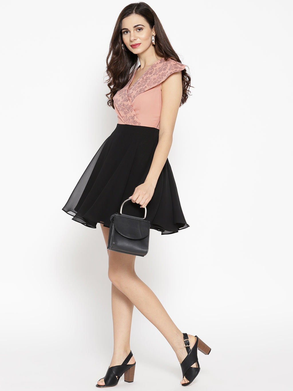 Women Dusty Pink & Black Solid Fit & Flare Dress