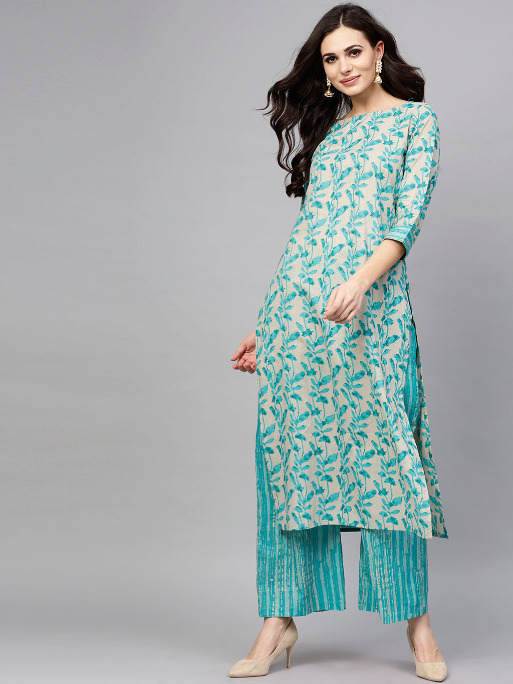 Women Blue & Grey Printed Kurta with Palazzos