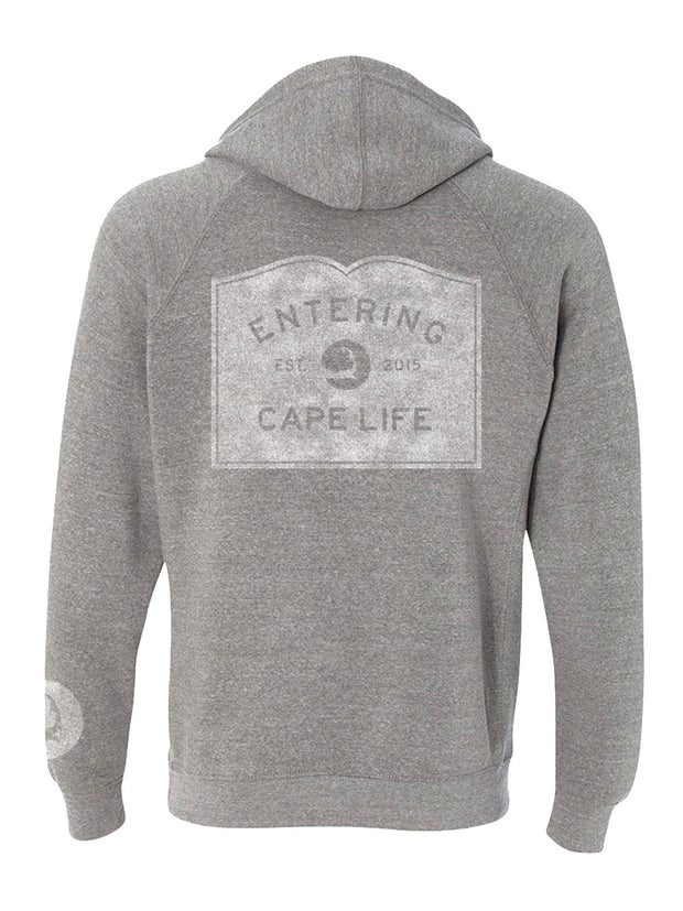 Entering Cape Life Pullover Hoodie Heather Grey With White Back