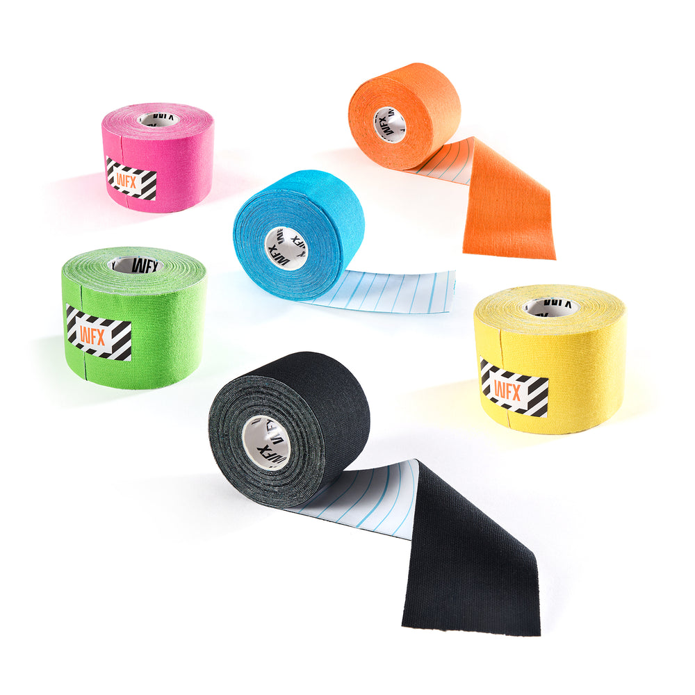Set of 6 Premium Kinesio Tapes - Green, Blue, Black, Pink, Yellow, Orange