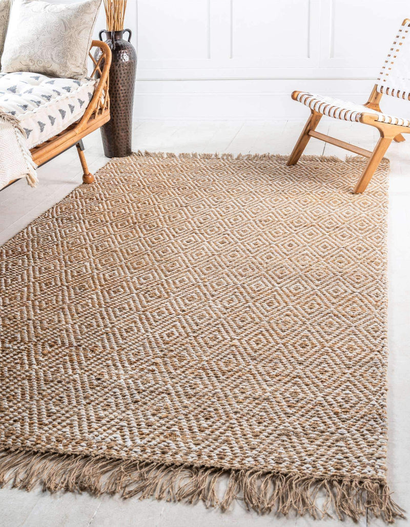 DIAMOND Jute Cotton Throw Rug - Artes Del Mundo
