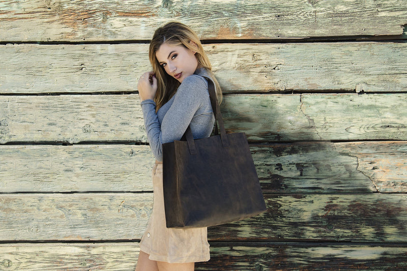 RAW EDGE Handmade Brown Leather Tote Bag - Artes Del Mundo