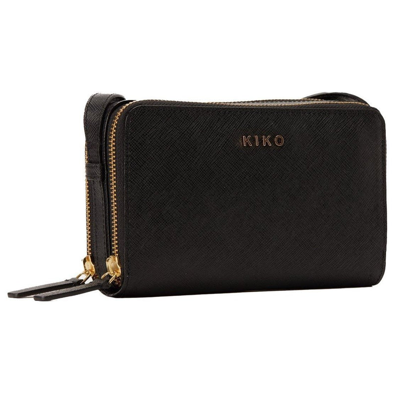 ZIP AROUND Black Leather Crossbody Purse - Artes Del Mundo