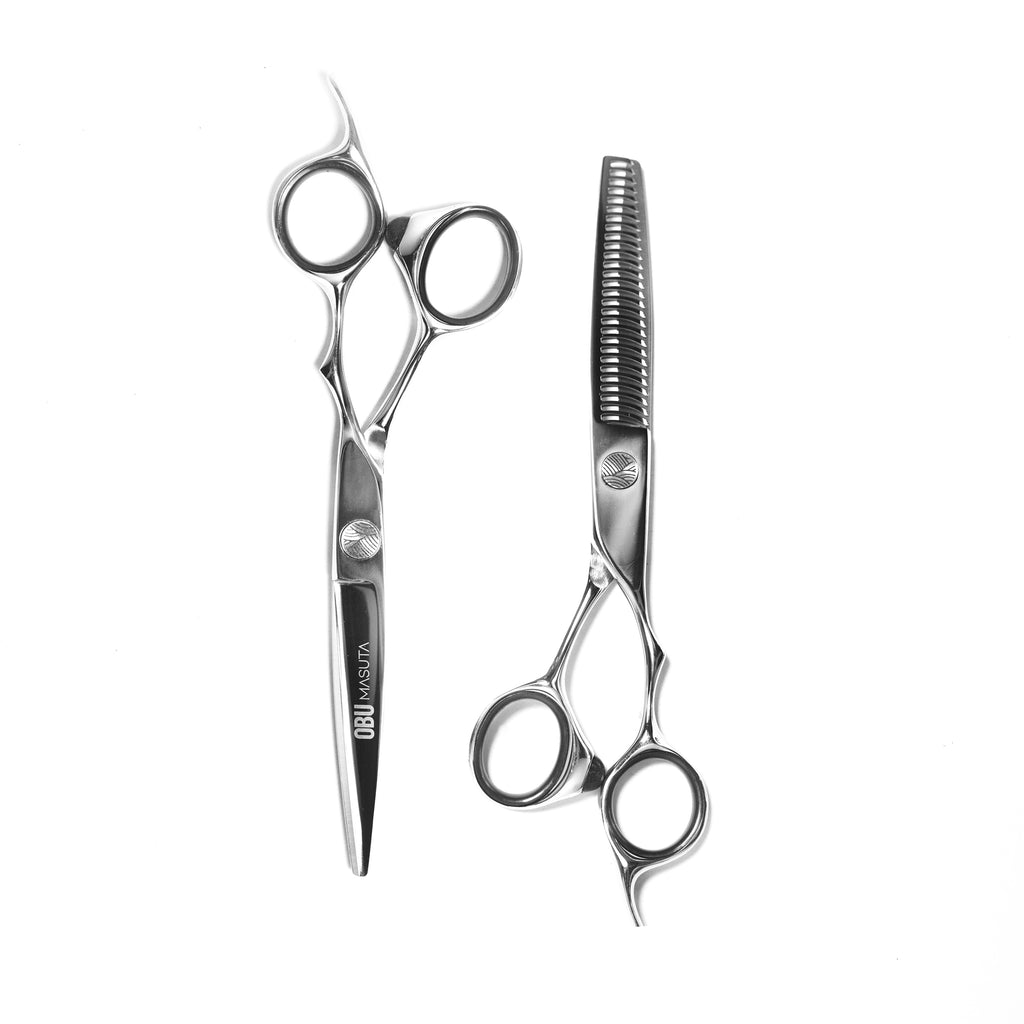 Quality Japanese steel hairdressing hair barber scissor sets. OBU.
