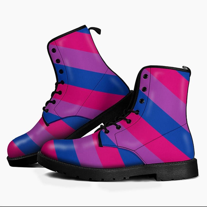 Bisexual Flag Leather Boots Men / 6 Qr1670