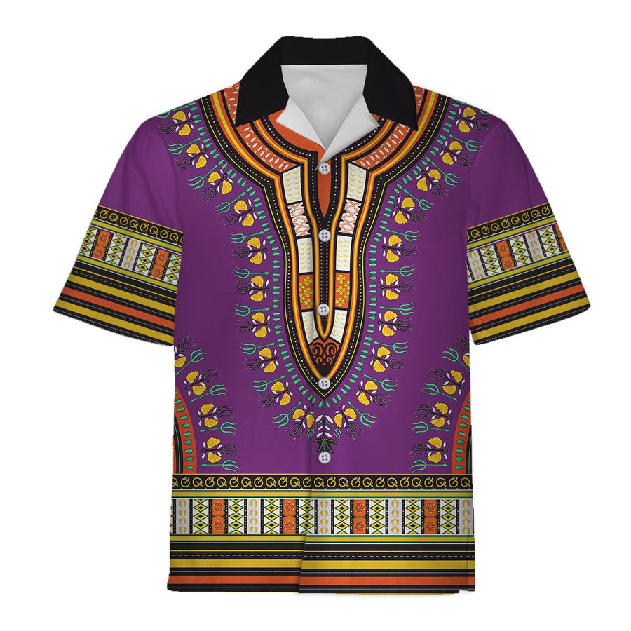 Purple African Dashiki Hawaiian Shirt / S Qm599