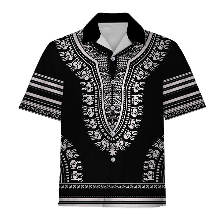 Black And White African Dashiki Hawaiian Shirt / S Qm590