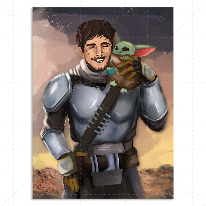 Beska Mandalorian And Pet Drawing Custom Digital Portrait
