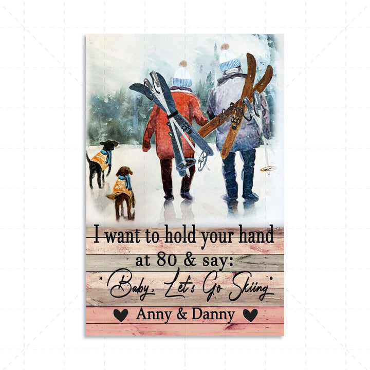 I Want To Hold Your Hand Skiing Custom Name Digital Portrait