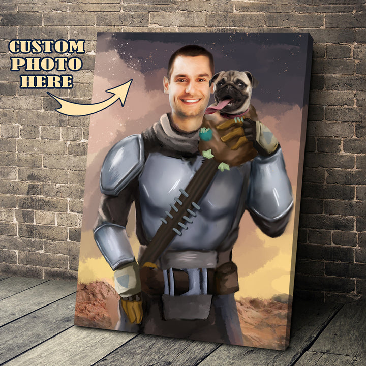Customized Canvas Beska Mandalorian And Pet