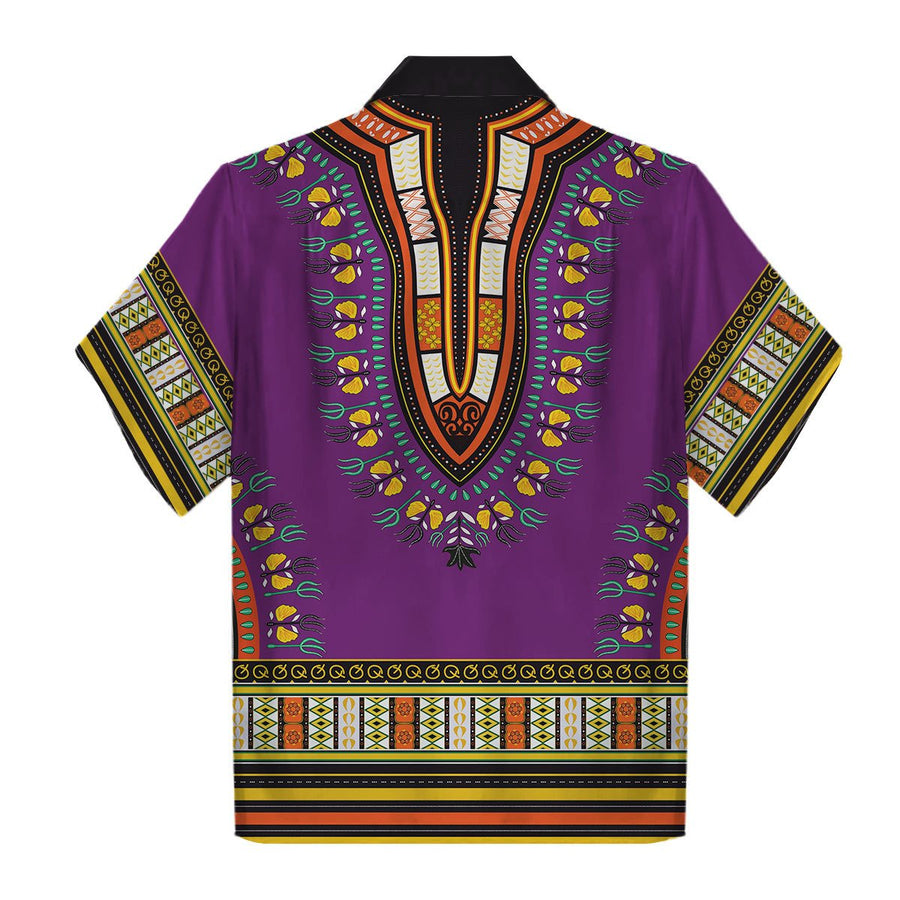 Purple African Dashiki Hawaiian Shirt Qm599