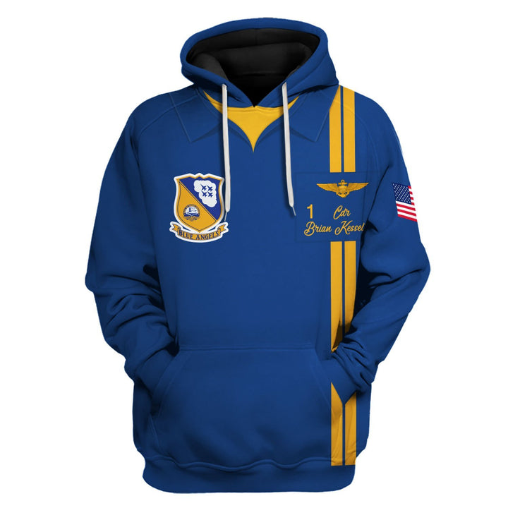 U.s. Navy Blue Angels Custom Name And Number Hoodie / S Qm628