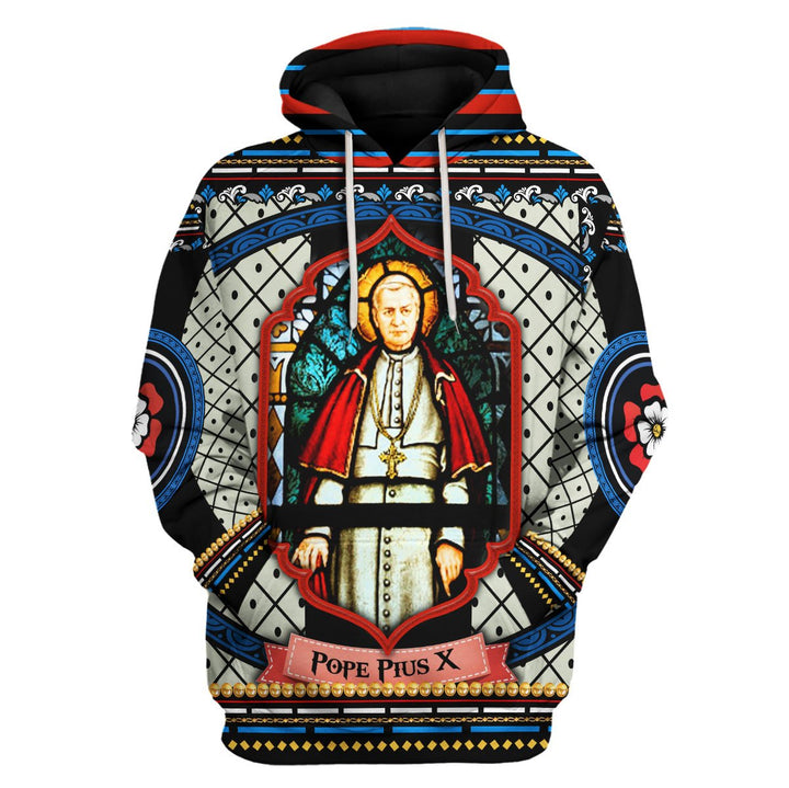 Pope Pius X Stained Glass Hoodie / S Qm667