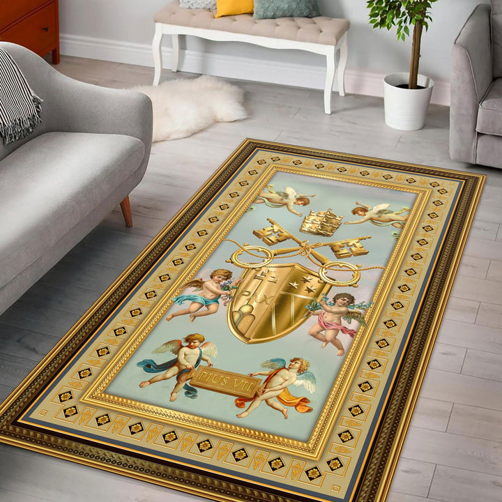 Pius Vii Coat Of Arms Rug / Small (3 X 5 Feet - 35 59 Inches) Qm1395