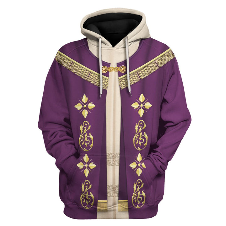 Pope Francis In Purple Liturgical Vestment Hoodie / S Vn332