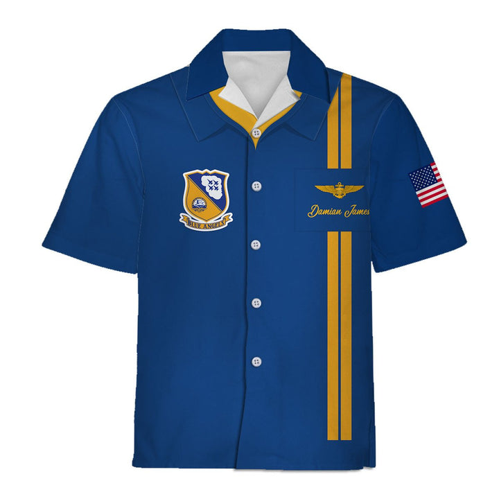 Custom Name And Number U.s. Navy Blue Angels Hawaiian Shirt / S Qm755