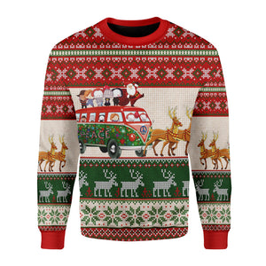 Santa With Horror Characters Christmas Sweater Long Sleeves / S G121