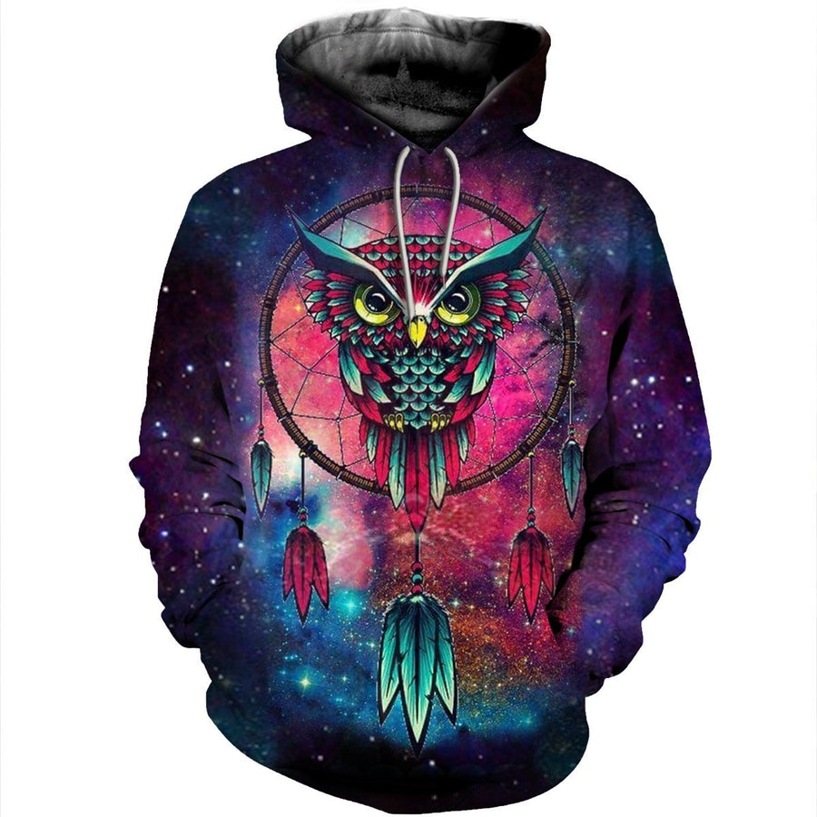 Gearhomies 3D Custom Shirt Hoodies Hypnotic Owl Apparel S / Hoodie