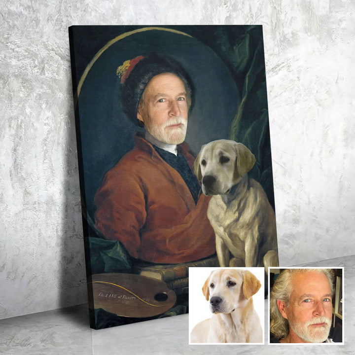 Painter And His Pug - Custom Renaissance Canvas