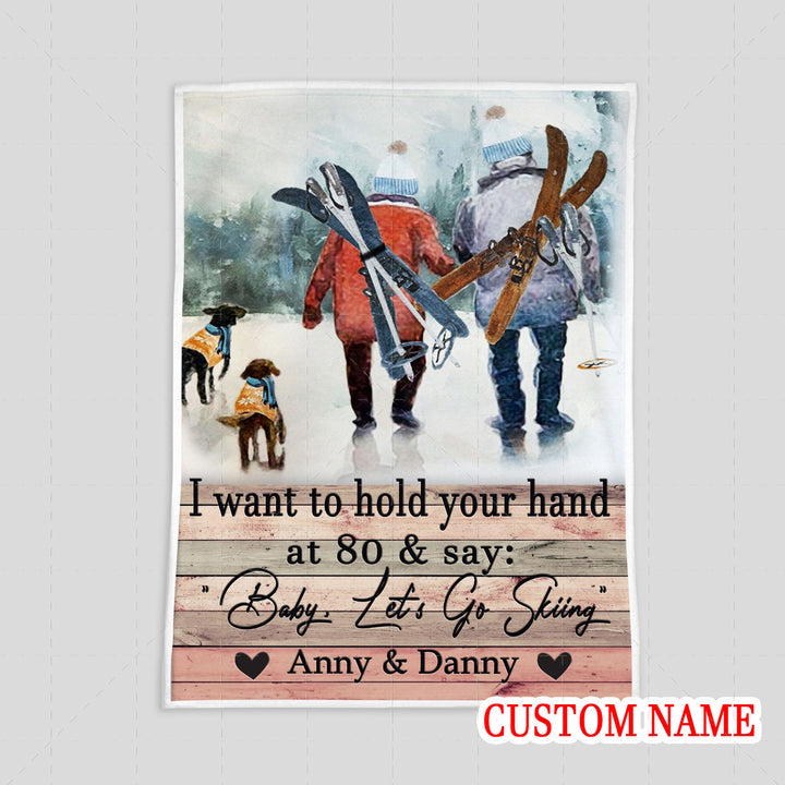 I Want To Hold Your Hand Skiing Custom Name Blanket