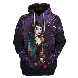 Green Witch Zip Hoodie / S Qm1231