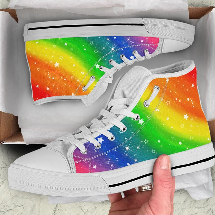 Lgbt Colorful Rainbow High Top Shoes Men / 38 Qm1695