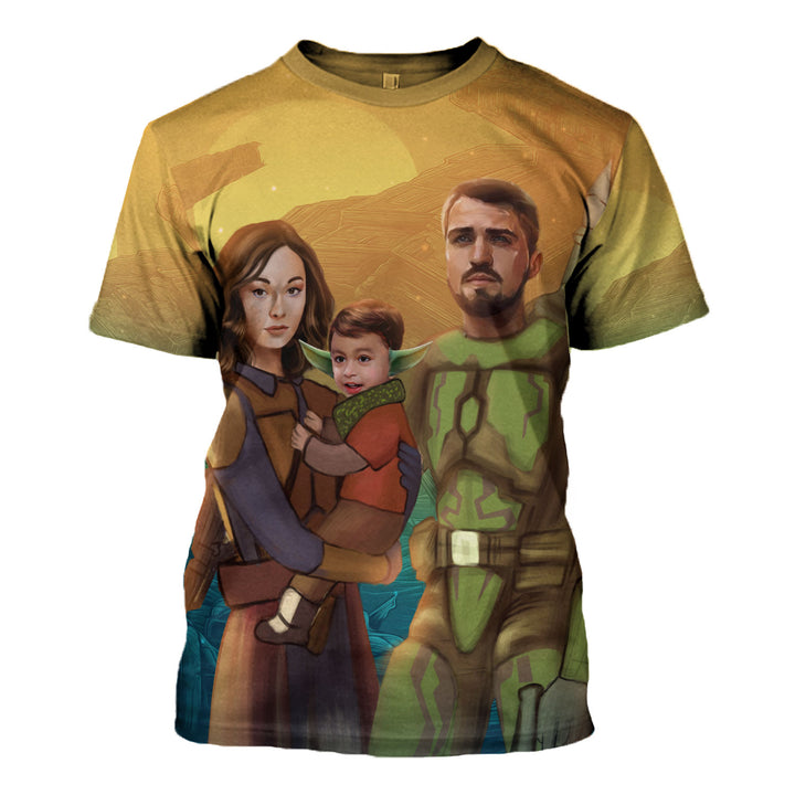 Personalized 3D T-Shirt Star Wars Family Custom Photos Portrait