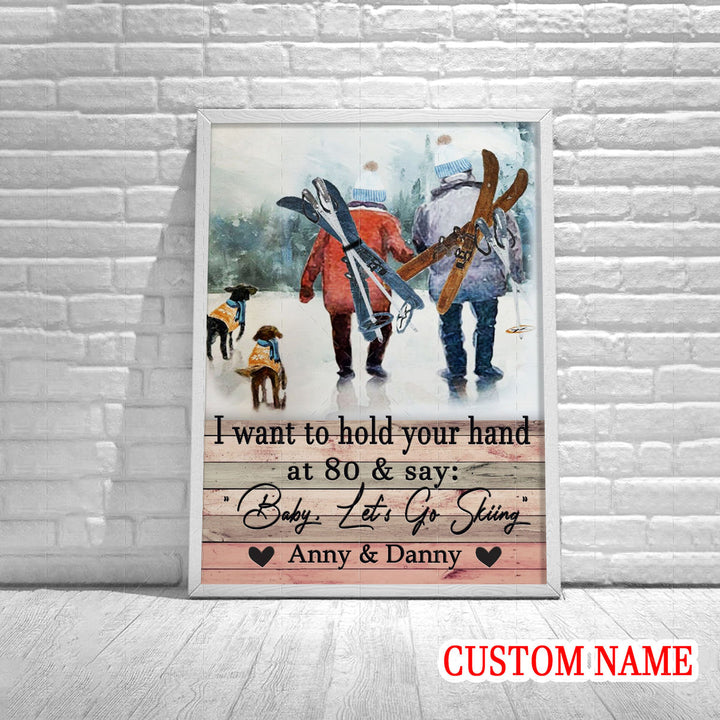 I Want To Hold Your Hand Skiing Custom Name Poster