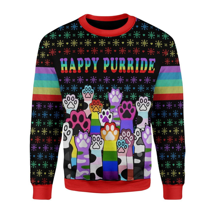 Happy Purride Lgbt Christmas Ugly Sweater / S G716