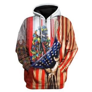 Firefighter Rememberance 11Th Sept Flag Zip Hoodie / S Vn811