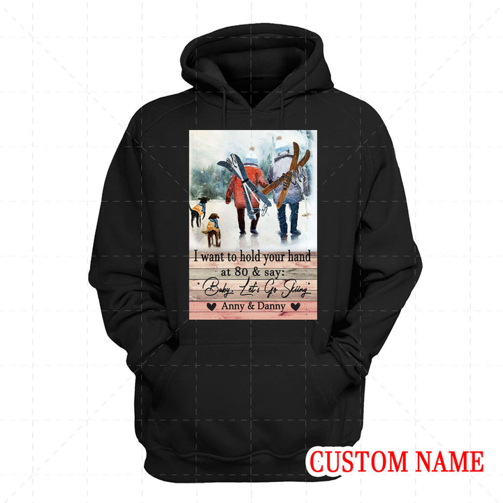 I Want To Hold Your Hand Skiing Custom Name 2D Hoodie