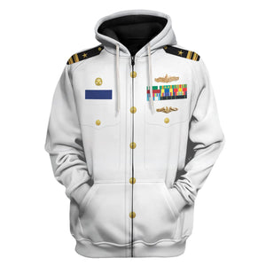 Us Navy Uniform Dress Service White Zip Hoodie / S Vn243