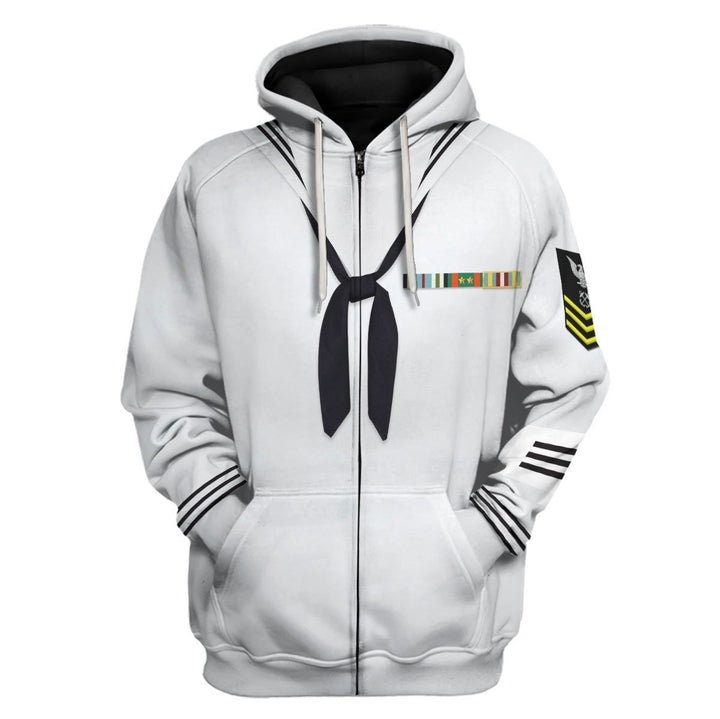 Us Navy Uniform Dress Enlisted Sailors Zip Hoodie / S Vn244