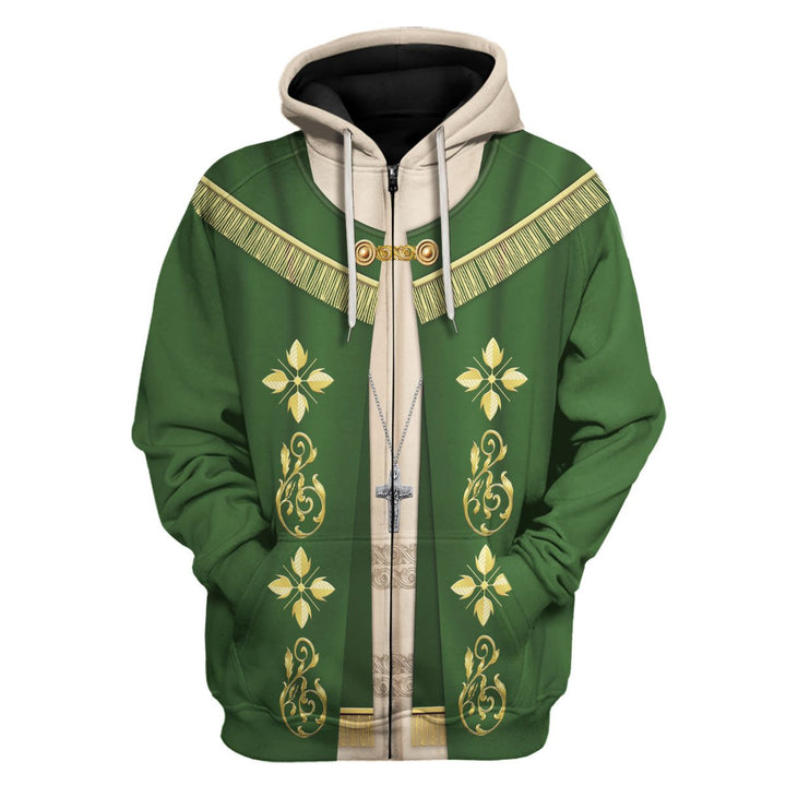 Pope Francis In Green Choir Dress Zip Hoodie / S Vn341