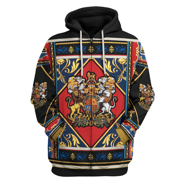 Coat Of Arms Yellow Lion Shirt Zip Hoodie / S Qm590