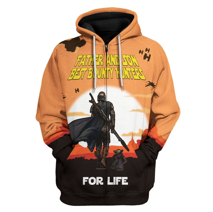 Father and Son Best Bounty Hunter For Life Fleece Zip Hoodie