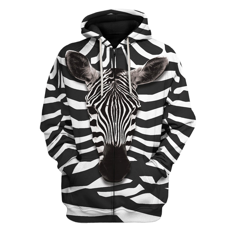 Zebra All Over Print Zip Hoodie / S An16220