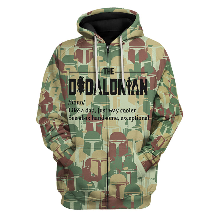 The Dadalorian Camouflage Like A Dad Just Way Cooler Fleece Zip Hoodie