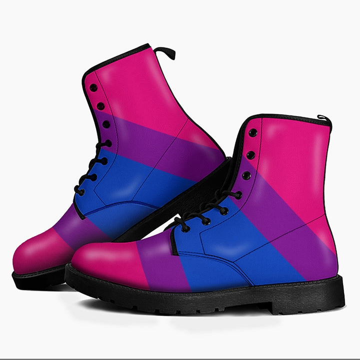 Bisexual Flag Leather Boots Men / 39 Kd726