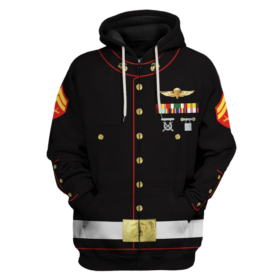 Us Marines Blue Dress Uniform Zip Hoodie / S Vn337