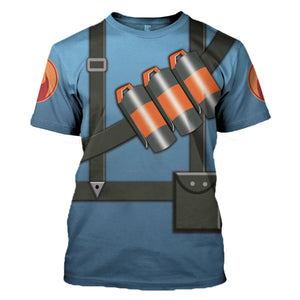 Pyro Blue Team Tf2 T-Shirt / S Vn181