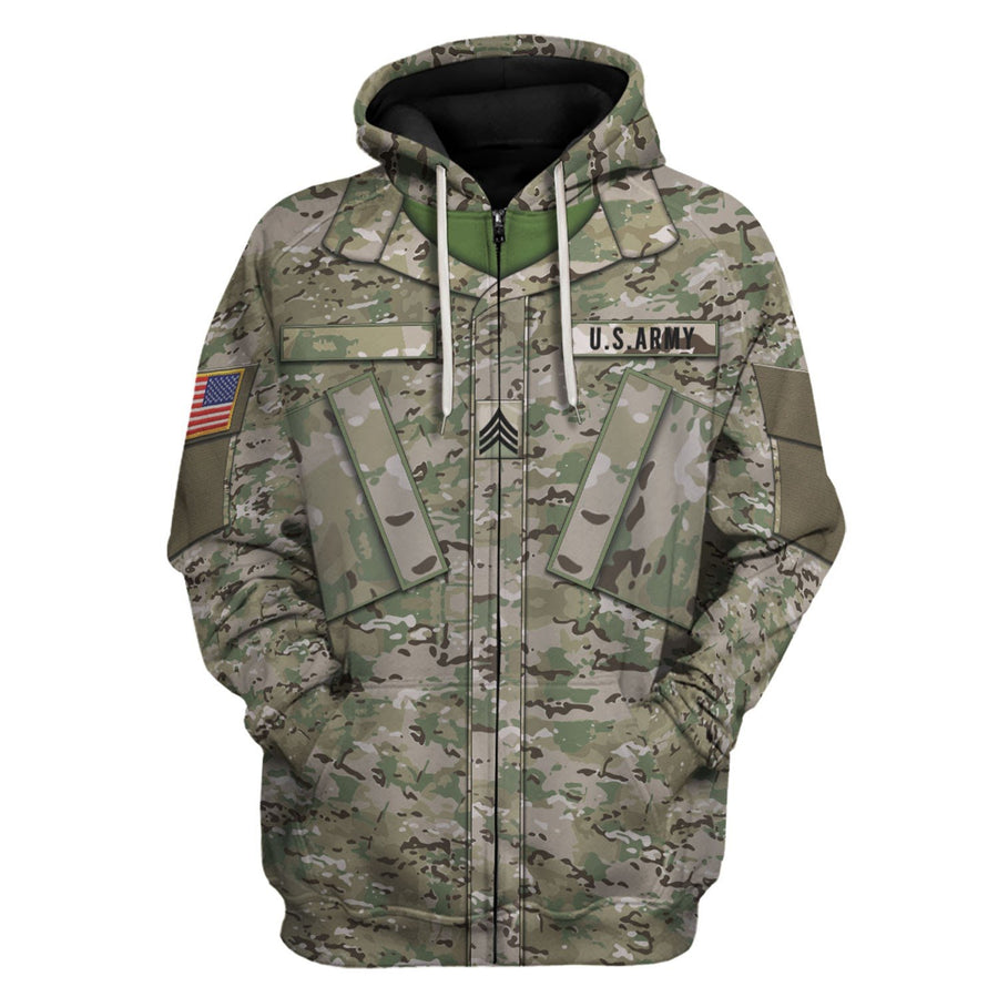 Us Army Combat Uniform Sergeant Zip Hoodie / S Vn458