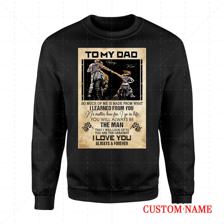 Personalized 2D Sweatshirt - Father Rider And Son