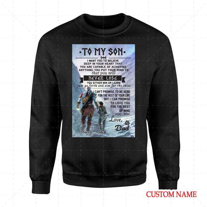 To My Son Viking Customized Name 2D Sweatshirt