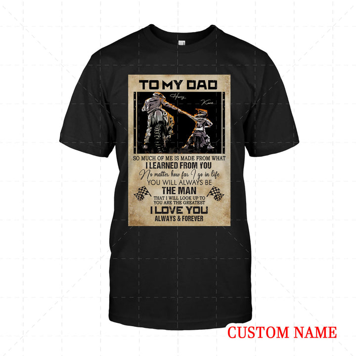Personalized 2D T-Shirt - Father Rider And Son