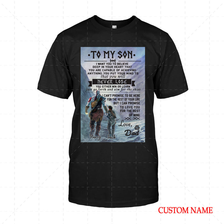 To My Son Viking Customized Name 2D T-Shirt