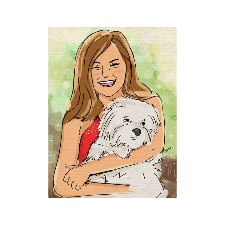 Girl With Pet - Drawing Custom Canvas