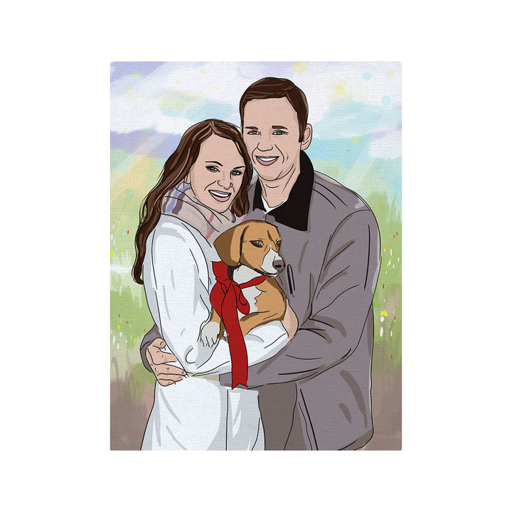 Couple With Pet - Drawing Custom Canvas