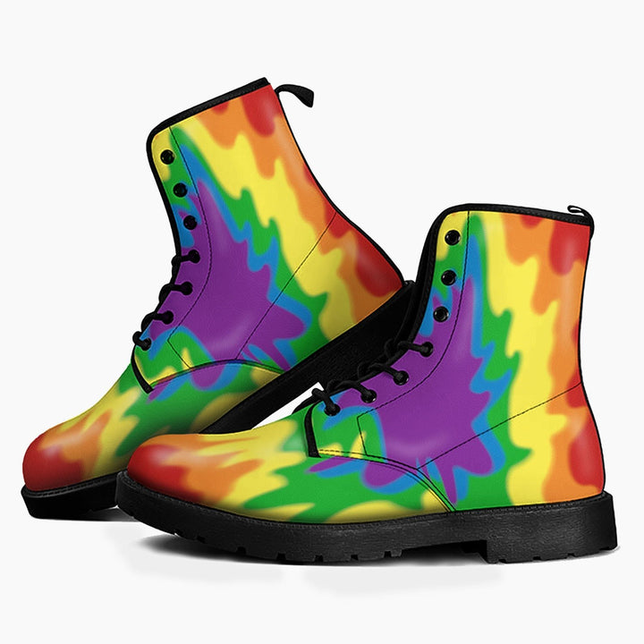 Lgbt Flag Leather Boots Men / 39 Qr1677