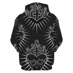 Qm1370 Cross & Sacred Heart Tattoo Style Art Edgy Christian Fleece Zip Hoodie / S